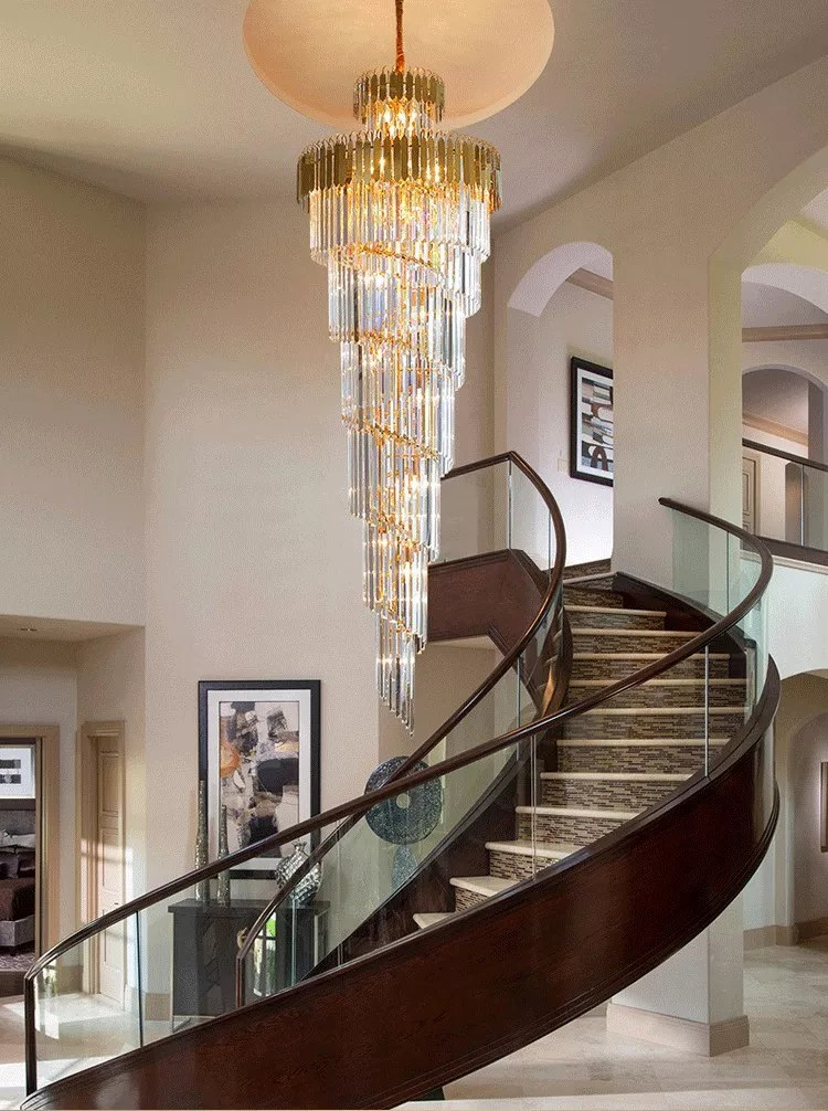 modern luxury indoor gold large round stairwell stair lighting crystal chandeliers pendant lights for hotel lobby staircase buy 72 inches hieght