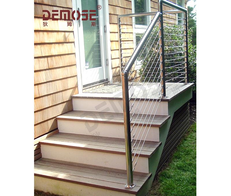 Outdoor Front Door Stair Hand Rail For Stainless Steel Railings | Stainless Steel Outdoor Stair Railings | Horizontal | Balcony 4X10 | Metal | Black | Hand