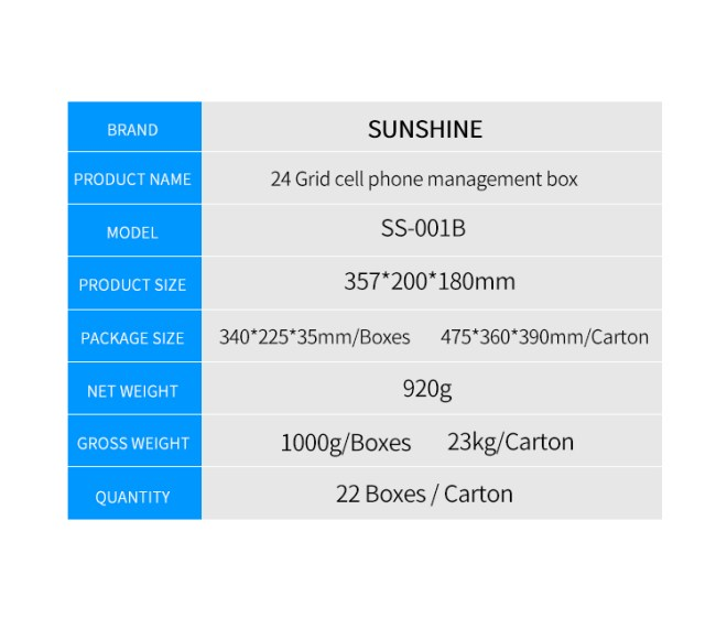 SUNSHINE SS-001B 24 grids cell phone management box storage bins storage box