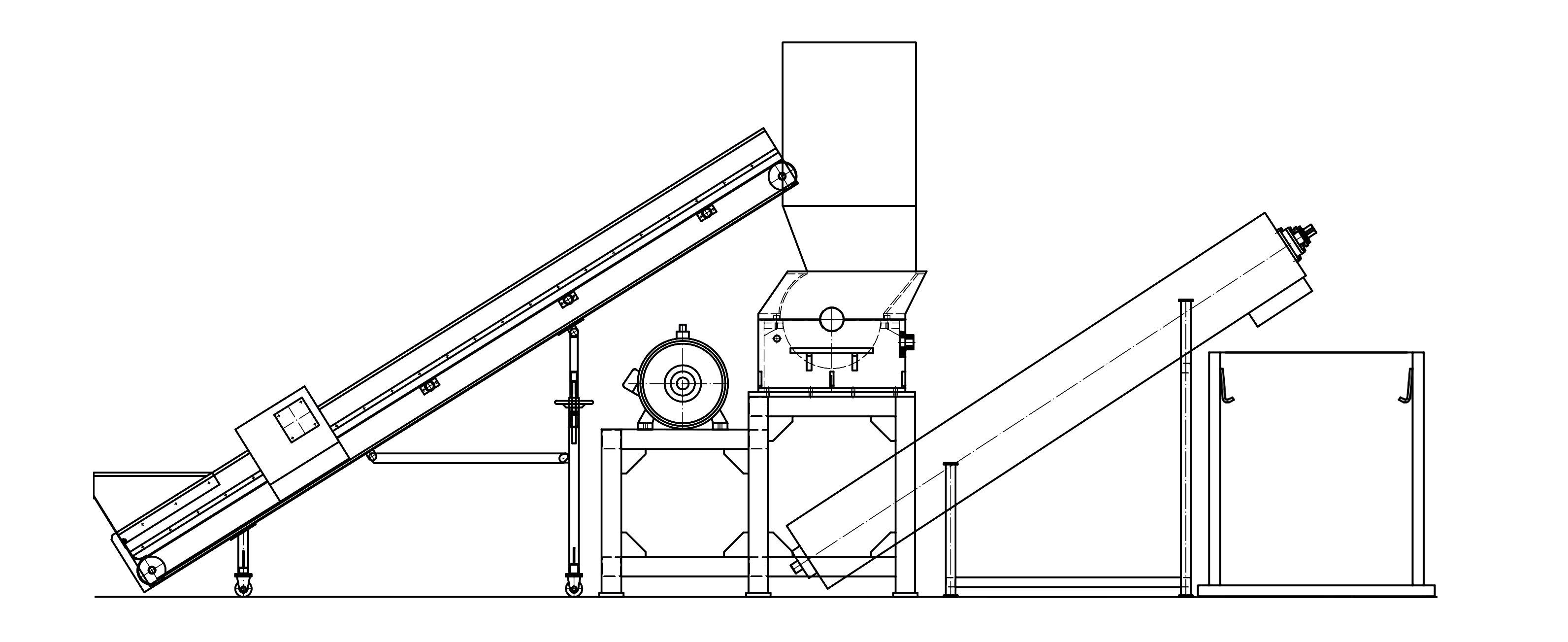 Manual Plastic Crusher Machine With Belt Conveyor Cyclone