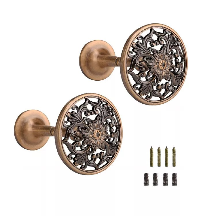 decorative curtain holdbacks set of 2 tieback metal wall mounted curtain hooks antique engraved floral metal hangers for home buy new design
