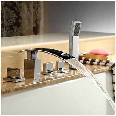mitigeur de robinets pour baignoire douche carree robinet de baignoire en laiton avec douchette cascade de tendance 5 pieces robinet de