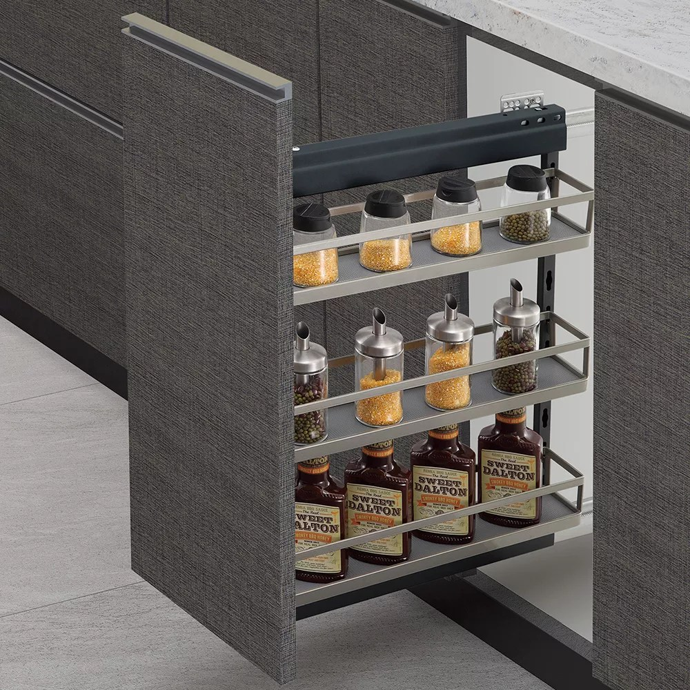 kitchen cabinet side install nano powder coating soft close slide out pullout pull out spice storage shelf rack organizer basket buy spice rack
