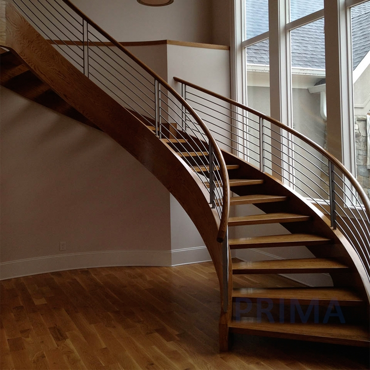 Modern Wood Stair Railing | Continuous Handrail Winder Stair | Recessed | 30 Inch | Basement | Gooseneck | 90 Degree