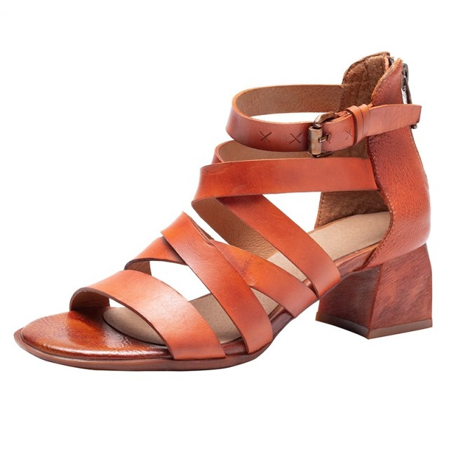 Genuine Leather High Heels Sandal Sexy Pumps Shoes Camel Gladiator Sandals Women Summer Block Heels for Ladies
