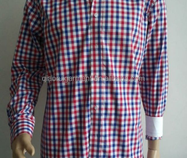 Mens Spring High Quality Red And Blue Gingham Dress Shirts