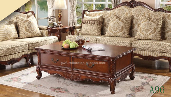 Hand Carved Classic Solid Wood Living Room Center Table