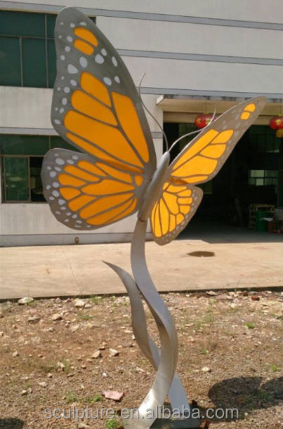 Acrylic With Stainless Steel Structure Butterfly Sculpture