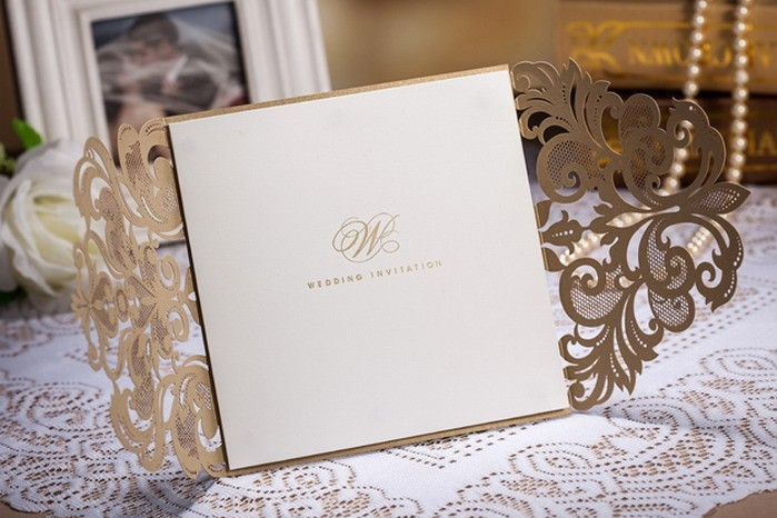 High Class Wedding Invitation Card Laser Cut Flower Brown