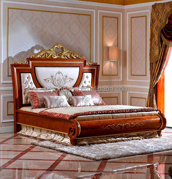 0038 Italy New Model Solid Wooden Carved Bed Italian