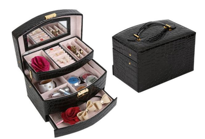 Small Female Foot Double Vanity Case Nail Technician Box Jewelry Cosmetic Storage Princess