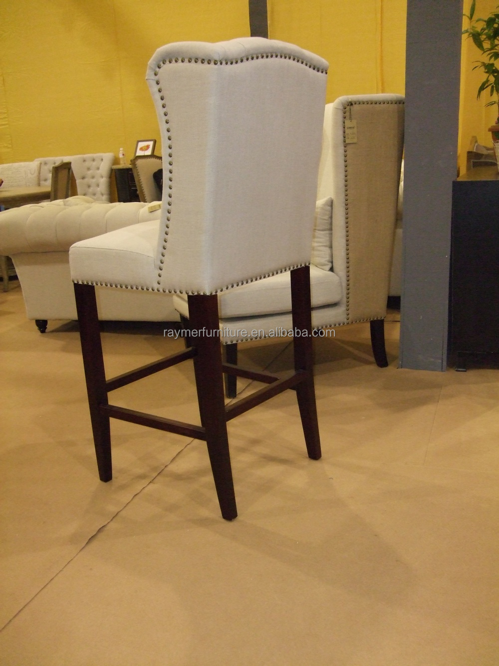 French Retro Style Tufted Wing Back Antique Bar Stools