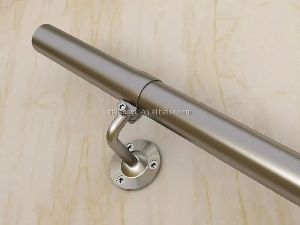 Outdoor Interior Metal Handrail For Steps Stainless Steel Handrail | Brushed Stainless Steel Handrail | Rectangle | Glass Panel Wooden Handrail | Brushed Chrome | Matte Finish | Flat Bar Steel