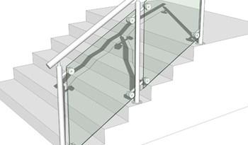 Premade Stainless Steel Glass Stair Railing For Concrete Stair   Premade Outdoor Stair Railing   Wood   Metal   Concrete Steps   Rail Kit   Handrail Kits