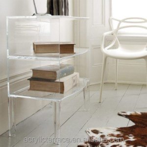 Two Tier Clear Acrylic Side Table Book Shelf   Buy Clear Plastic     two tier clear acrylic side table  book shelf