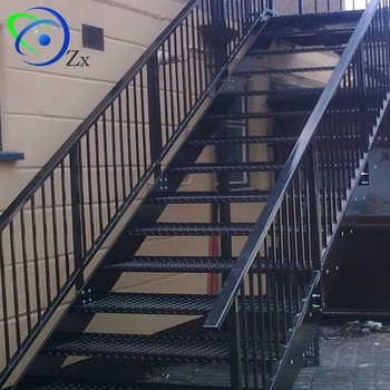 Outdoor Metal Fire Escape Staircase Exterior Prefab Mild Steel | Prefabricated Exterior Metal Stairs | Stair Case | Stairways | Aluminum | Wrought Iron | Stair Treads