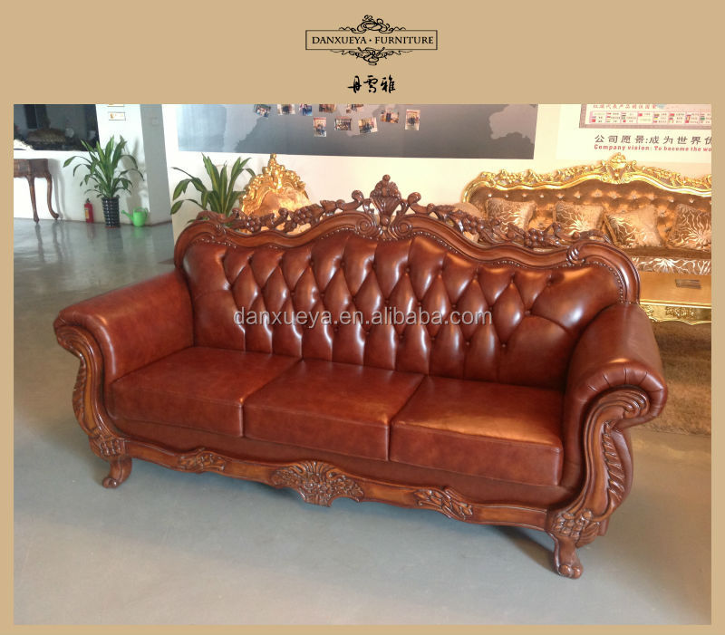Carved wood leather sofa energywarden