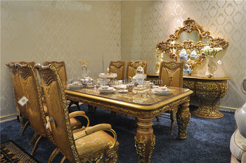 Italian Glass Top Dining Tables And Chairs SetAntique Golden Wooden Rectangle 8 People Dining