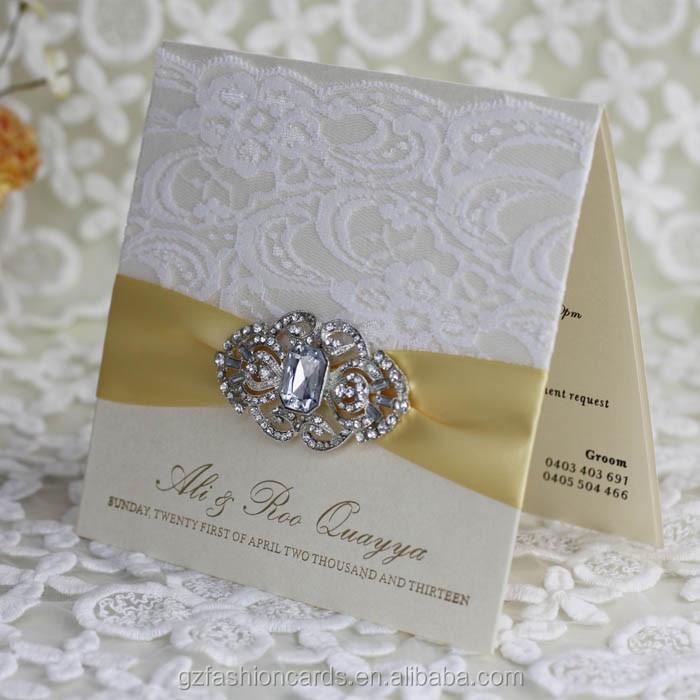 2015 Hot Sale Luxury Lace Pearl Wedding Invitation Models