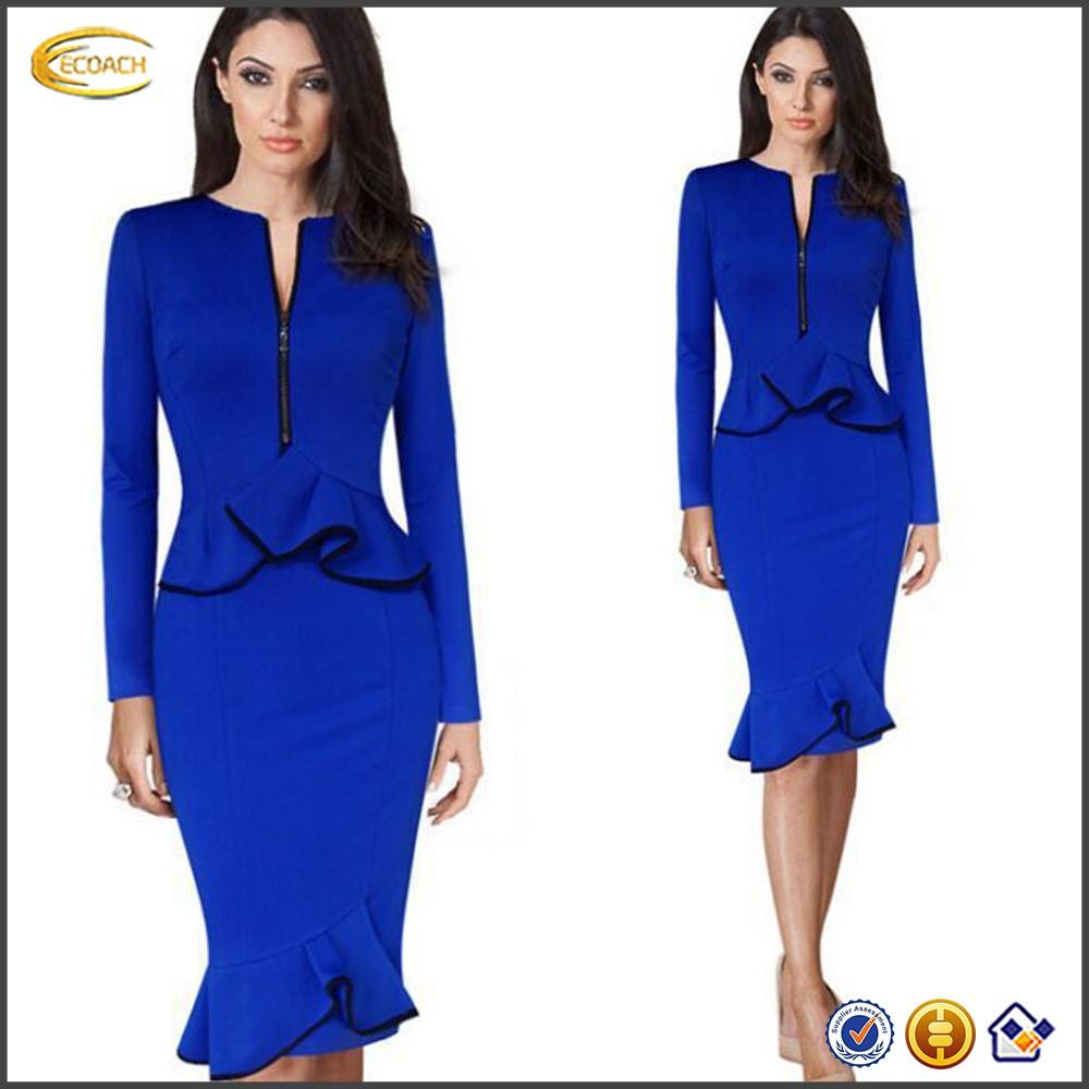 ecoach robe de bureau pour dames 2016 bleu a manches longues deux pieces a volants tunique