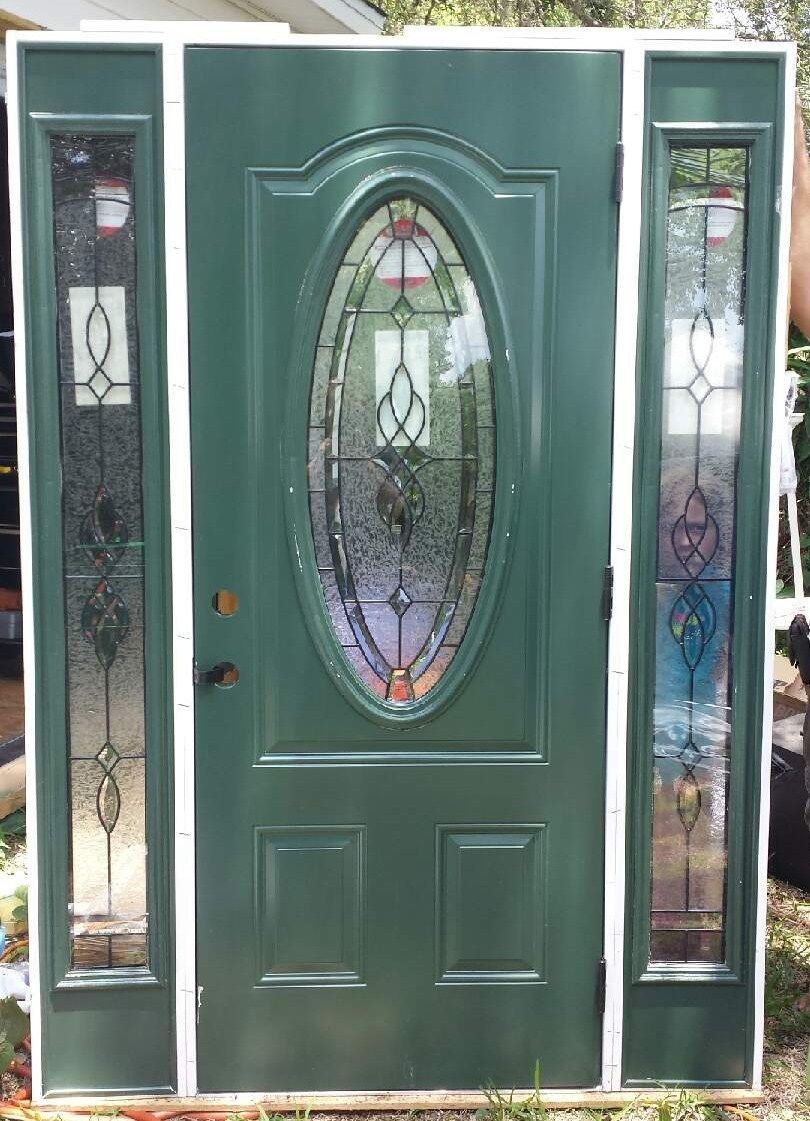 Leaded Glass Front Exterior Entry Door With Sidelites