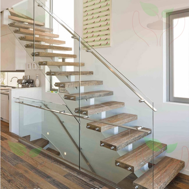 Single Spine Stringer Stairs With 12Mm Frameless Glazed   Flat Handrail For Stairs   Code Compliant   Stainless Steel Flat Bar   Type 2   Top   Flat Iron