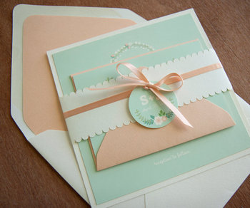 Lovely Peach Envelope Linner And Mint Cards With Colorful Printing Wedding Invitation Card Lace Band