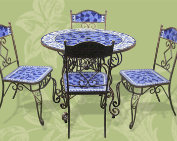 Outdoor Wrought Iron And Ceramic Mosaic Dining Set,Mexico ... on Outdoor Living Iron Mosaic id=78256