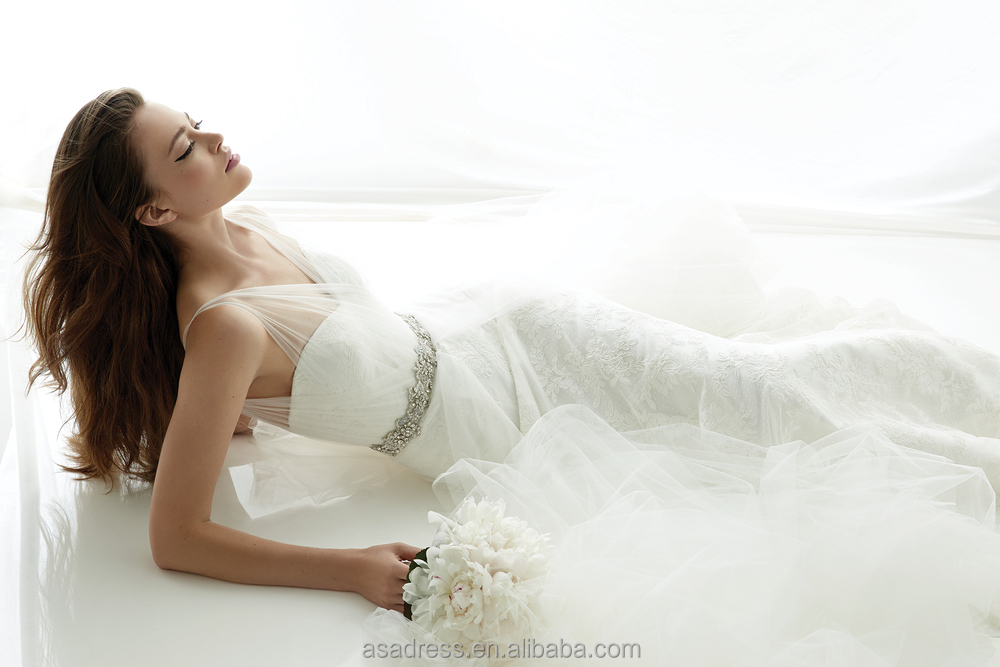 Plus Size Simple Sexy Long Sleeve Wedding Gowns French