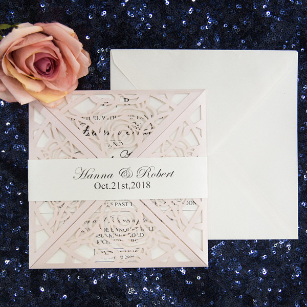 Hot Unique Blush Laser Cut Wedding Invitations Philippines With Belly Band