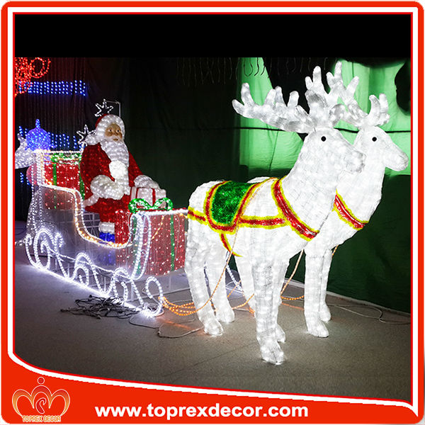16 39 Long Airn Christmas Inflatable Santa In Sleigh With Three Reindeers Decor