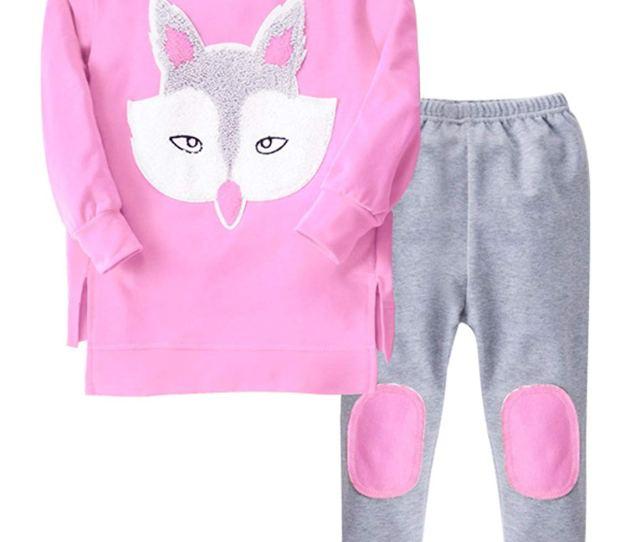 Get Quotations  C B Pcs Pants Clothing Set Cartoon Fox Print Pullover Sweater Long Pants For Christmas
