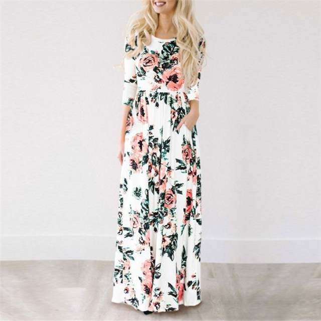 White color of GVN Rocks Floral Boho Summer Maxi Dress