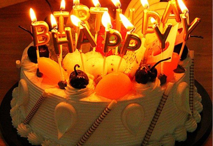 Buy Lshcx Gold Birthday Letter Candles Happy Birthday Cake Candles