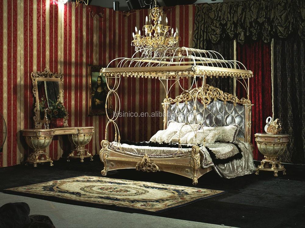 Bisini New Classical Ialian Style Round BedSolid Wood