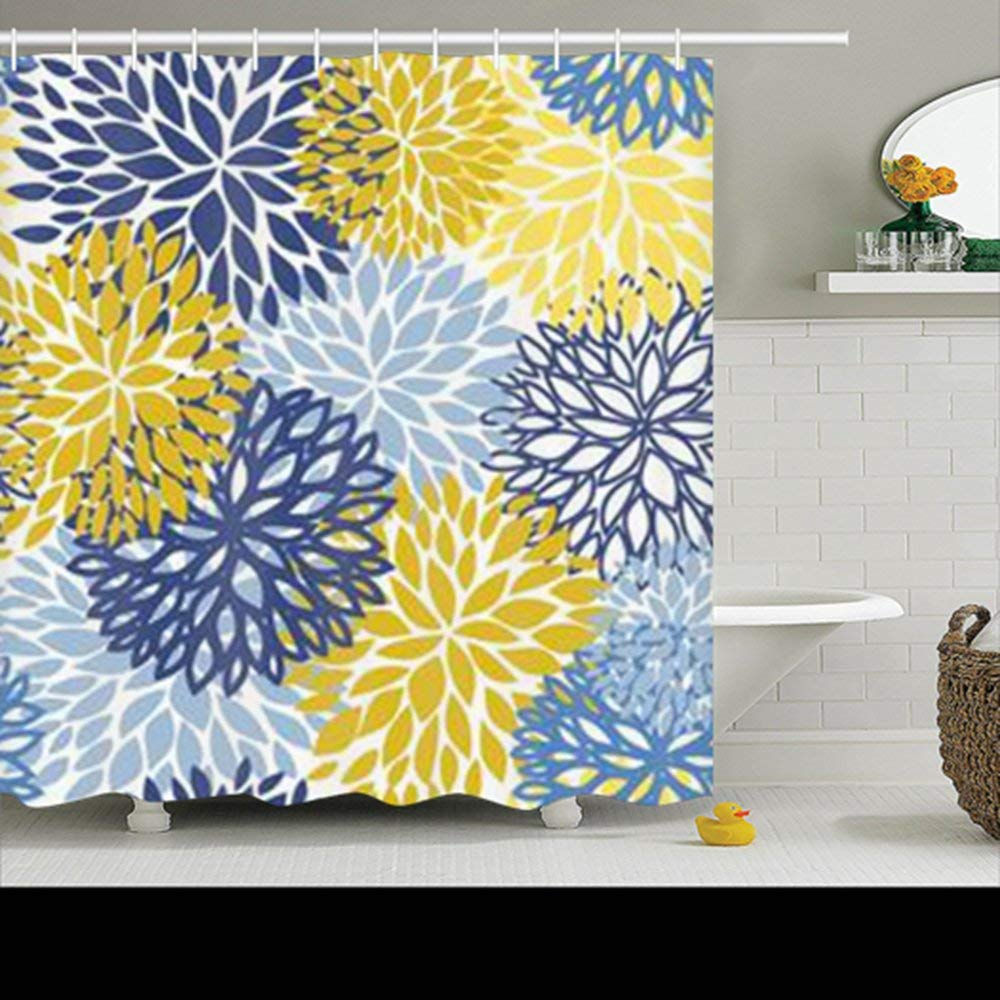 cheap blue and yellow shower curtains