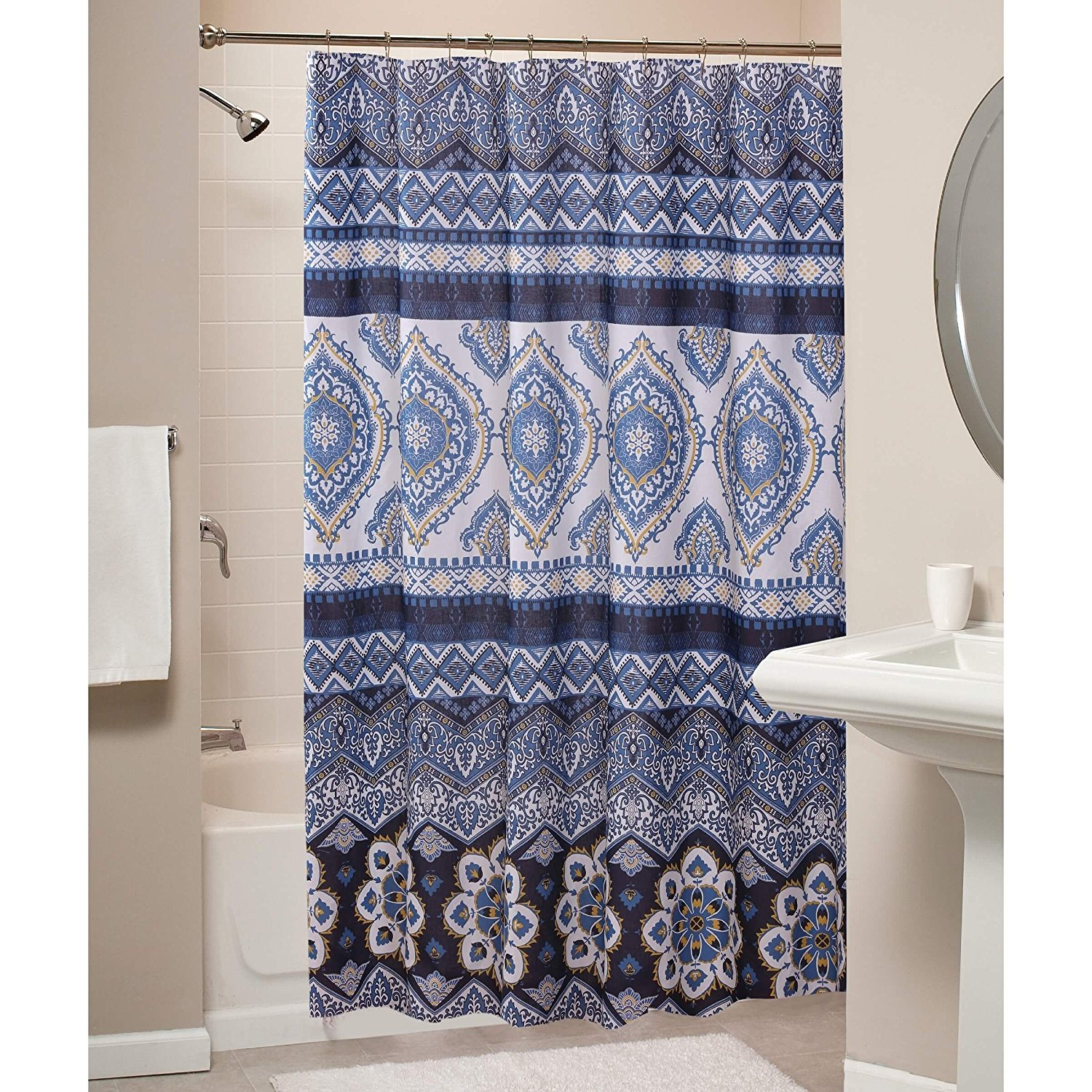 https guide alibaba com shop boho chic moroccan paisley pattern navy blue fabric shower curtain 1006232893 html