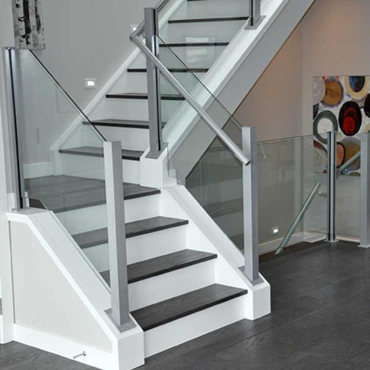 Low Cost Glass Stair Railing Kits For Spiral Staircase Indoor   Glass Stair Railing Near Me   Interior   Railing Systems   Stainless Steel   Tempered Glass Panels   Iron
