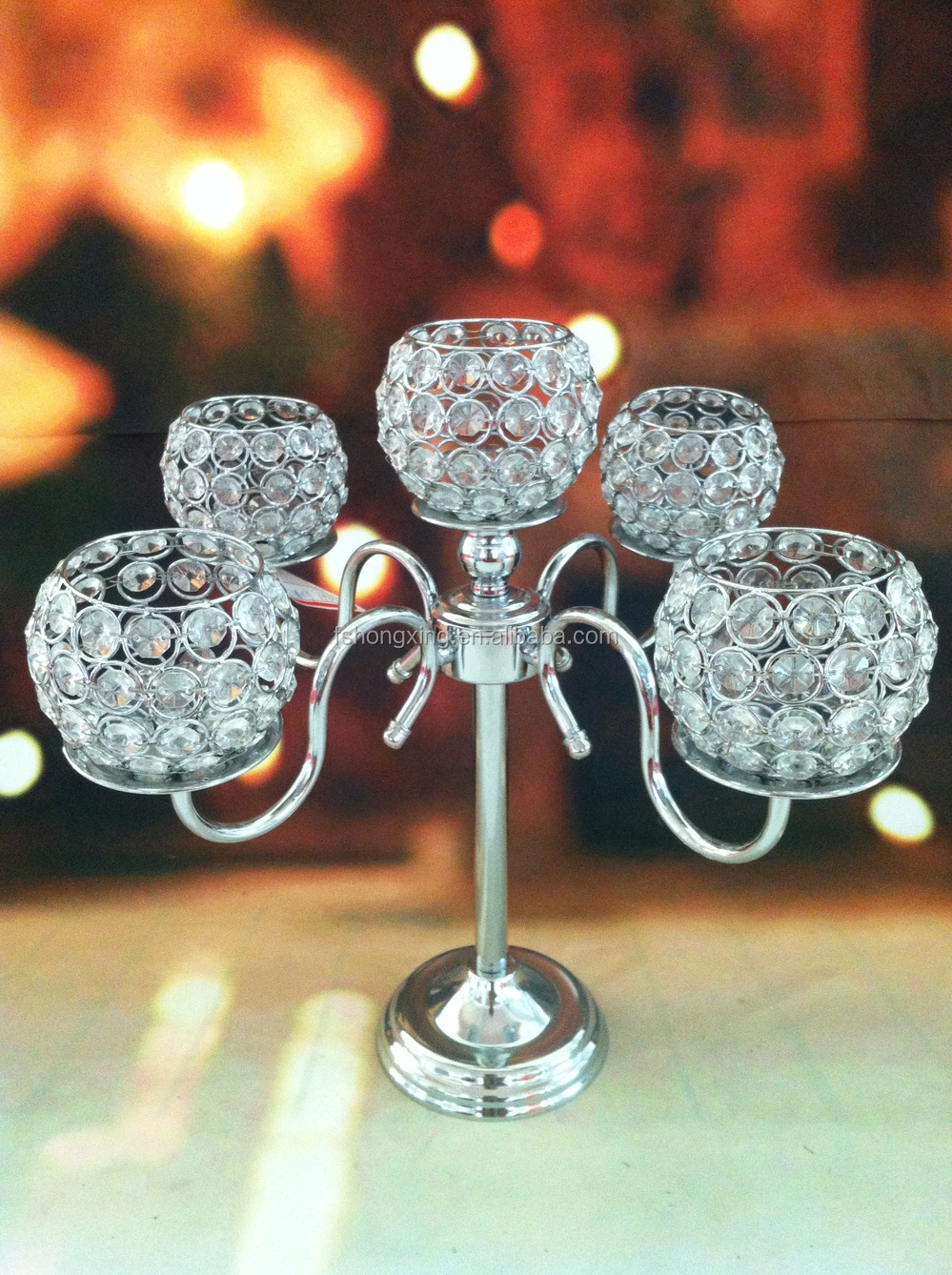 5arms Tall Wedding Crystal Globe Candelabra Centerpiece