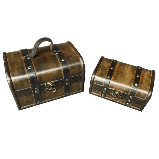 Quickway Imports Vintage Style European Luge Suitcase Set Of 2 Decorative Bo