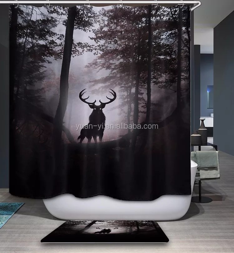 stag patron saint of harry potter design printed polyester shower curtain buy american memorial day red crowned crane waterproof product on
