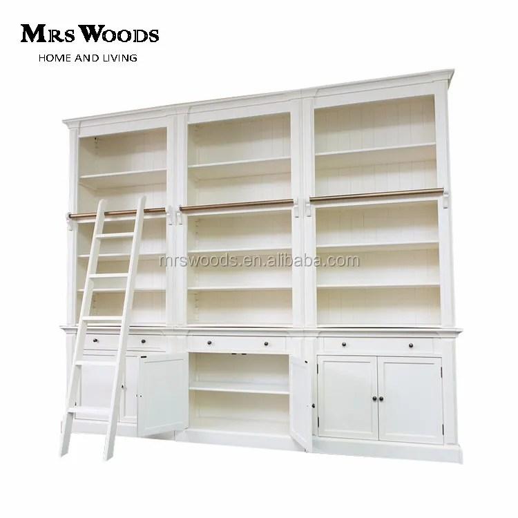 bibliotheque de style hoodie francaise avec echelle bibliotheque en bois blanc avec portes 3 baies buy bibliotheque avec portes bibliotheque avec