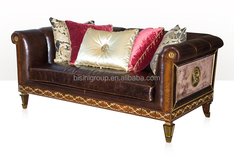 antique style victorien en cuir deux places canape avec feuille d or royal classique salon