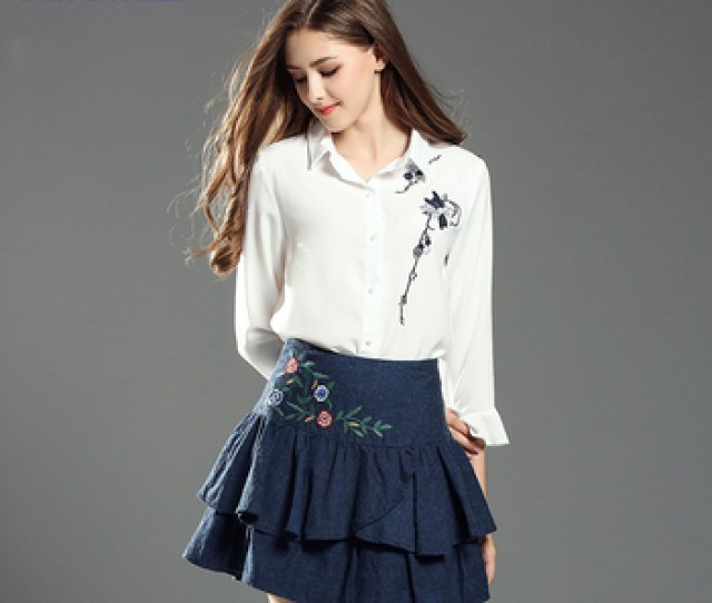 2018 Newest Hot College Girls Short Embroidered Skirts For Party Wear