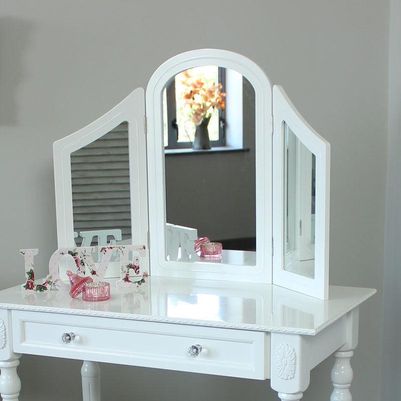 Blanc Chambre COIFFEUSE Triple MIROIR Et TABOURET