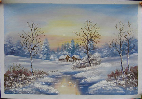 China Winter Scene Oil Painting On Canvas The Forest Hut