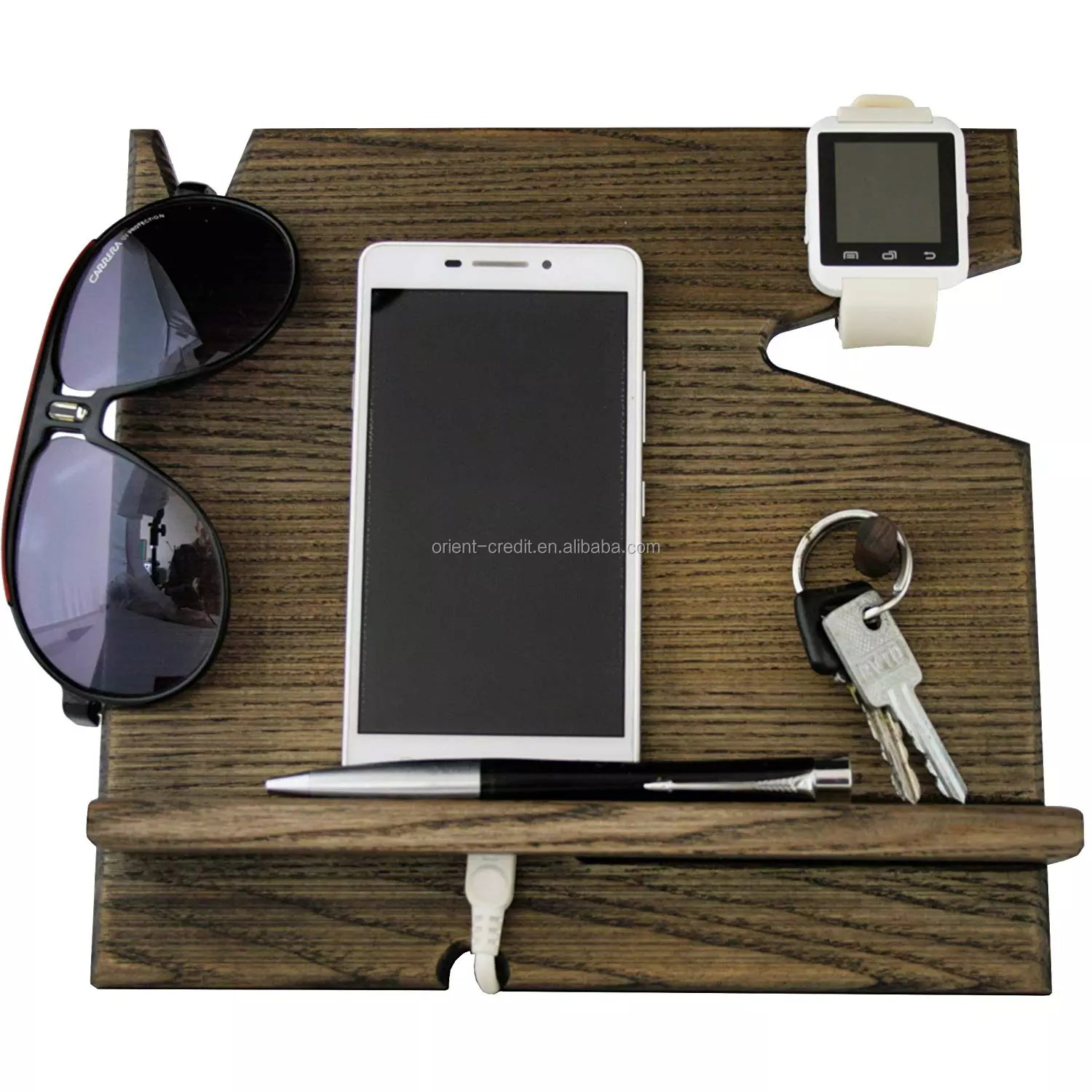 Wooden Cell Phone Stand Nightstand Multiple Charging Dock Watches Holder Wood Valet Key Tray Organizer Mens Gifts Buy Wooden Cell Phone Stand Wood