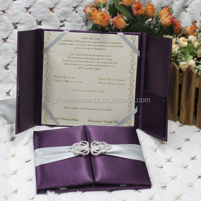 Blue Color Box Type Decorating Silk Material Diy Wedding Invitations