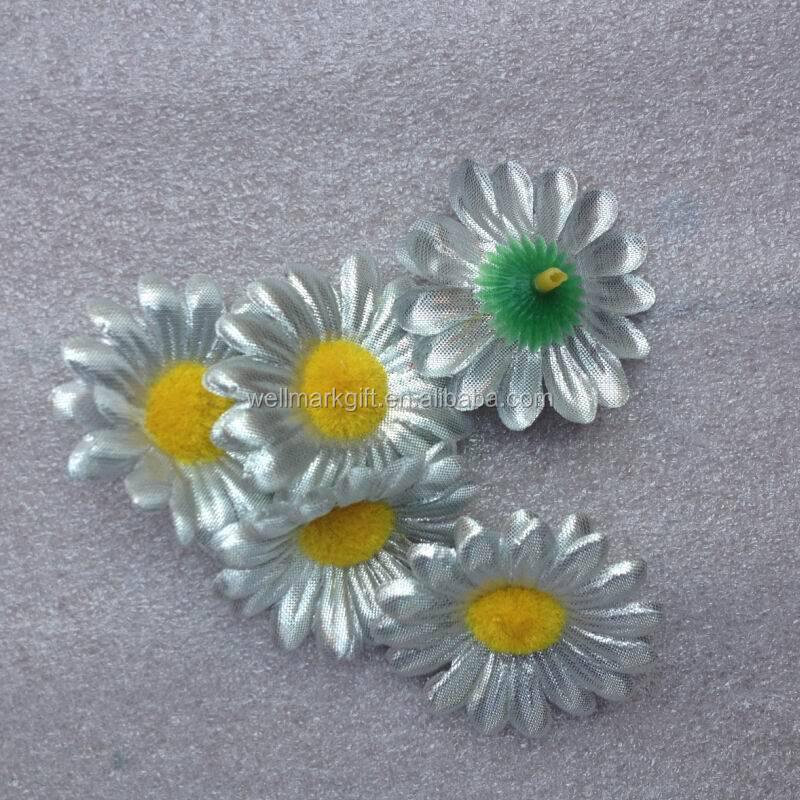 5cm Cheap Gold Metallic Gerbera Artificial Silk Fabric