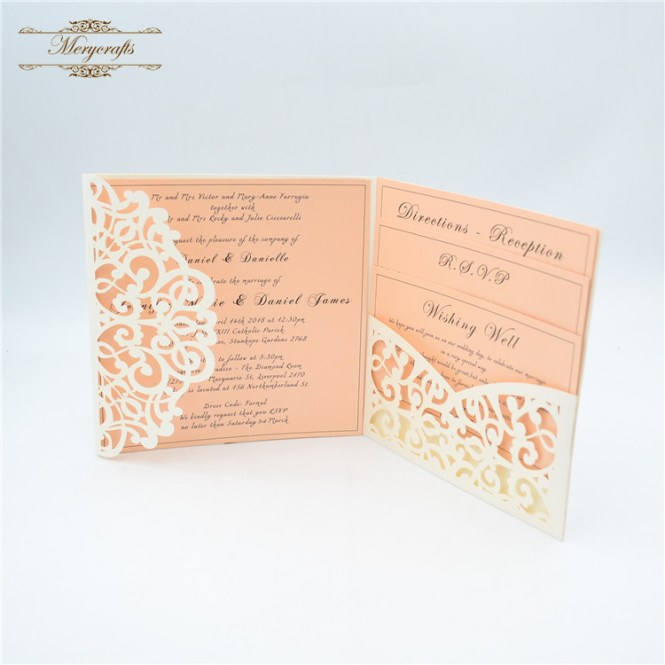 Us 33 0 Pocketfold Laser Cut Elegant Wedding Invitations Beige Pearl In Cards From Home Garden On Aliexpress